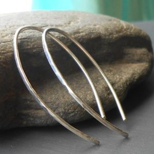 👉FIRM👈 Small Silver Hammered Open Hoop Earrings